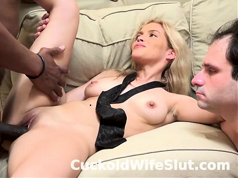 Blonde cuckold wife fucks BBC in front of hubby