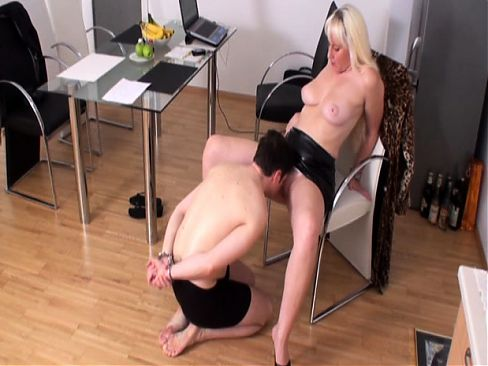 Femdom Ladies use slaves to lick their pussy
