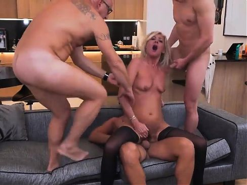 Horny hairy Milf ties up hubby and takes on three guys p4