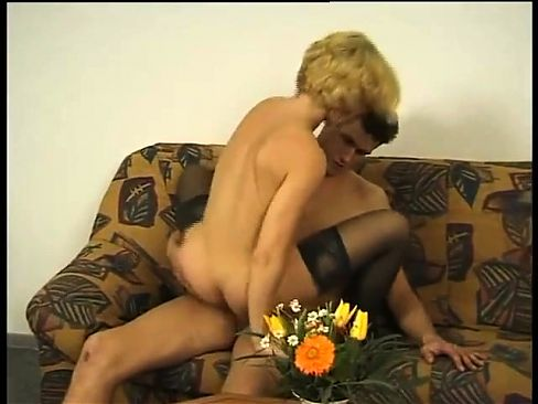 Amateur Blonde Hairy Mature Fucks Young Dude